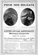Advertisement for gas masks. From the French periodical 'Le Flambeau', 18 September 1915.  Chemical Warfare First World War 1914-1918.