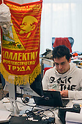 Moscow, Russia, 26/03/2012..A Soviet-era Collective of Communist Workers banner inside the Silicon Valley style headquarters of Russian internet search company Yandex.