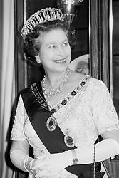 Queen Elizabeth II, arrives for a State dinner in Amman, Jordan.