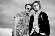 WA - MAY 23: Brad Shultz and Mathew Shultz of Cage the Elephant<br /> poses for a portrait backstage at the Gorge Amphitheater on May 23, 2014 in George, Washington. (Photo by Steven Dewall)
