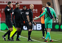 Luton Town's James Shea has words with referee Andy Davies<br /> <br /> Photographer Alex Dodd/CameraSport<br /> <br /> The EFL Sky Bet Championship - Middlesbrough v Luton Town - Wednesday 16th December 2020 - Riverside Stadium - Middlesbrough<br /> <br /> World Copyright © 2020 CameraSport. All rights reserved. 43 Linden Ave. Countesthorpe. Leicester. England. LE8 5PG - Tel: +44 (0) 116 277 4147 - admin@camerasport.com - www.camerasport.com