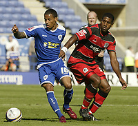 Photo: Aidan Ellis.<br /> Leicester City v Queens Park Rangers. Coca Cola Championship. 15/09/2007.<br /> Leicester's DJ Campbell holds off QPR's Damion Stewart