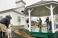 """Odin"" with Kate Driscoll and ""Schotzi"" with Lou Marcello with among the dogs offered a blessing by Pastor Ruth Martz at the Sanbornton Congregational Church on Sunday evening.  (Karen Bobotas/for the Laconia Daily Sun)"