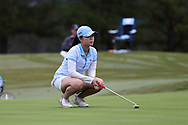 CHAPEL HILL, NC - OCTOBER 15: North Carolina's Cheni Xu (CHN) on the 18th green. The third and final round of the Ruth's Chris Tar Heel Invitational Women's Golf Tournament was held on October 15, 2017, at the UNC Finley Golf Course in Chapel Hill, NC.