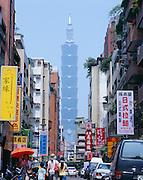 Activity on a street adjacent to Taipei 101.