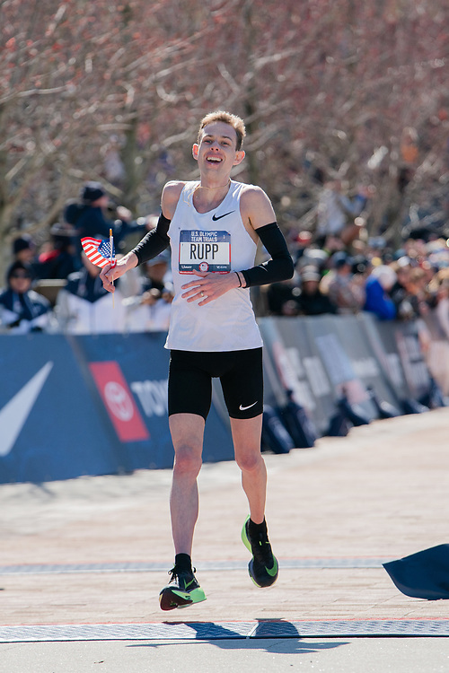 Galen Rupp wins the 2020 U.S. Olympic marathon trials in Atlanta on Saturday, Feb. 20, 2020. Photo by Kevin D. Liles for The New York Times