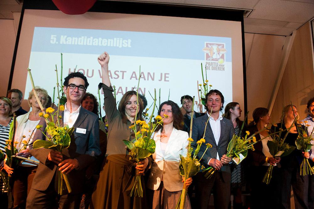 Nederland, Doorn, 1 juli 2012.Partij voor de Dieren verkiezingscongres.Marianne Thieme op het podium na de bekendmaking van de kieslijst.. Foto (c): Michiel Wijnbergh