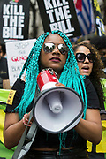 Chantelle Lunt, founder of Merseyside BLM Alliance, takes part in a Kill The Bill National Day of Action in protest against the Police, Crime, Sentencing and Courts PCSC Bill 2021 on 29th May 2021 in London, United Kingdom. The PCSC Bill would grant the police a range of new discretionary powers to shut down protests, including the ability to impose conditions on any protest deemed to be disruptive to the local community, wider stop and search powers and sentences of up to 10 years in prison for damaging memorials.