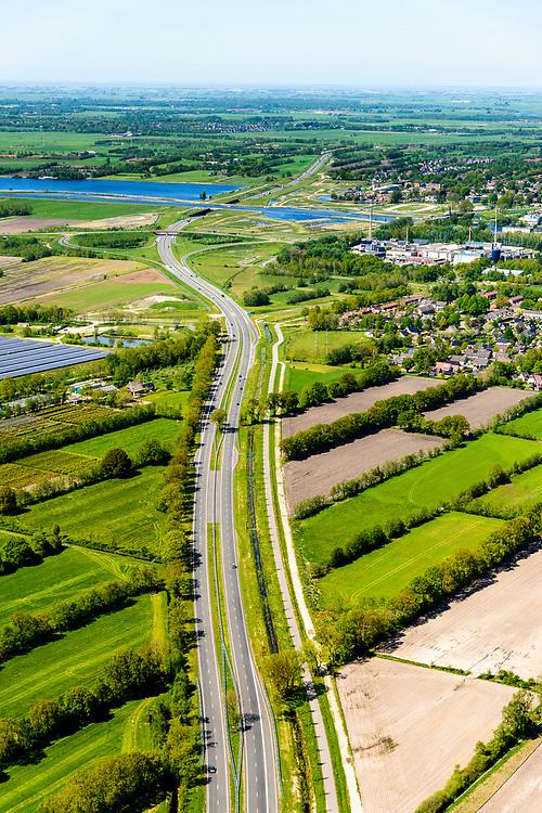 Nederland, Friesland, Centrale As, 07-05-2018; provinciale weg 356 (N356), Sintrale As of de Centrale As, tussen Nijega en Dokkum.<br /> Lokatie Sumar, Garyp.<br /> New local motorway Friesland<br /> luchtfoto (toeslag op standaard tarieven);<br /> aerial photo (additional fee required);<br /> copyright foto/photo Siebe Swart
