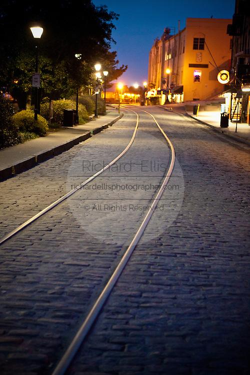 Old trolley tracks along the riverfront in Savannah, Georgia, USA.