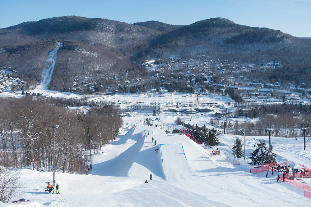 Ski and snowboard FIS World Cup slopestyle course on 08th February 2017 in Stoneham Mountain, Canada. The Canadian Jamboree is part of the ski and snowboard FIS World Cup circuit held in Quebec City and Stoneham Mountain.