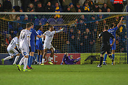 Peterborough United attacker Ivan Toney (17) scores but offside during the EFL Sky Bet League 1 match between AFC Wimbledon and Peterborough United at the Cherry Red Records Stadium, Kingston, England on 12 March 2019.