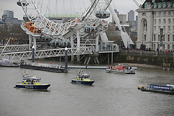 © Licensed to London News Pictures . 29/03/2017 . London , UK . Scene by Westminster Bridge where a person was seen jumping from the bridge in to the Thames in Westminster today (29th March 2017) as the British Government will trigger Article 50 of the Lisbon Treaty and commence Britain's withdrawal from the European Union . Photo credit : Joel Goodman/LNP