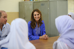 The Duchess of Cambridge during a visit to a government-run school in central Islamabad on day two of the royal visit to Pakistan.