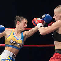Antonina Osetska (L) of Ukraine and Renata Rakoczi (R) of Hungary fight during the WAKO  women's kick-boxing 55kg World Championship Final in Budapest, Hungary on Nov. 16, 2019. ATTILA VOLGYI
