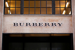© Licensed to London News Pictures. 07/11/2012. London, UK. The Burberry Ltd  logo is seen on the company's London headquarters. The clothing company today announced a 30% loss in profit for the brand, but insisted that the company was still strong. Photo credit: Matt Cetti-Roberts/LNP