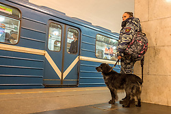 April 4, 2017 - Saint Petersburg, Russia - April 4, 2017. - Russia, Saint Petersburg. - Security tightened at Saint Petersburg metro after explosion on April, 3. In picture: security guard at 'Tekhnologichesky Institut' metro station. (Credit Image: © Russian Look via ZUMA Wire)