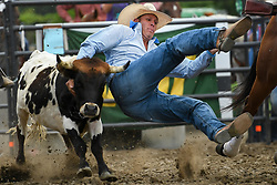July 6, 2018 - Hamel, MN, USA - A rider is unable to get a hold on his calf and falls to the dirt during the steer wrestling competition at the 38th Annual Hamel Rodeo and Bull Ridin' Bonanza on Friday, July 6, 2018, in Hamel, Minn. (Credit Image: © Aaron Lavinsky/TNS via ZUMA Wire)