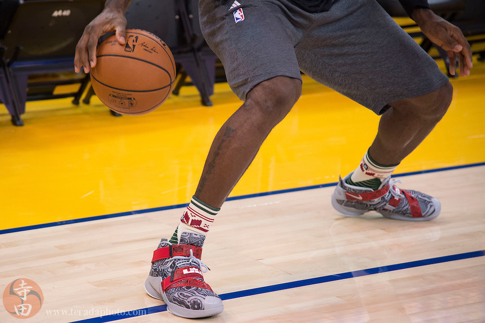 December 25, 2015; Oakland, CA, USA; Detail view of the Nike shoes worn by Cleveland Cavaliers forward LeBron James (23) during warm ups before a NBA basketball game on Christmas against the Golden State Warriors at Oracle Arena.