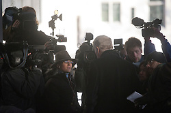 © London News Pictures. 29/11/2012. London, UK. Max Mosley speaking to media outside the QEII centre in London following Lord Justice Leveson's  report  into the culture and ethics of the UK's press. Photo credit: Ben Cawthra/LNP