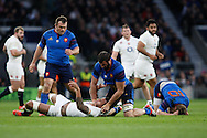 Courtney Lawes of England (floor) and Yoann Maestri of France (blue) scrap after a late tackle by Lawes  of Jules Pisson of France (R) during the RBS 6 Nations match at Twickenham Stadium, Twickenham<br /> Picture by Andrew Tobin/Focus Images Ltd +44 7710 761829<br /> 21/03/2015