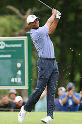 May 30, 2019 - Dublin, OH, U.S. - DUBLIN, OH - MAY 30: Tiger Woods plays his shot from the ninth tee during the first round of The Memorial Tournament on May 30th 2019  at Muirfield Village Golf Club in Dublin, OH. (Photo by Ian Johnson/Icon Sportswire) (Credit Image: © Ian Johnson/Icon SMI via ZUMA Press)