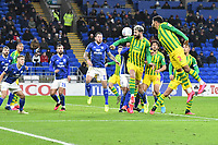 Football - 2019 / 2020 Sky Bet (EFL) Championship - Cardiff City vs. West Bromwich Albion<br /> <br /> Charlie Austin of WBA heads at goal, at Cardiff City Stadium.<br /> <br /> COLORSPORT/WINSTON BYNORTH
