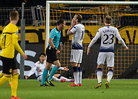 Football - 2018 / 2019 UEFA Champions League - Round of Sixteen, Second Leg: Borussia Dortmund (0) vs. Tottenham Hotspur (3)<br /> <br /> Vincent Janssen (Tottenham FC)  holds his face after appeals for a penalty are waved away by the referee at Signal Iduna Park (Westfalenstadion).<br /> <br /> COLORSPORT/DANIEL BEARHAM