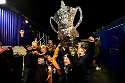 Hyde fans with a tin foil FA Cup during the Emirates FA Cup, first round match at Ewen Fields, Hyde.