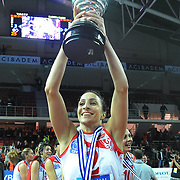 Vaakifbank GS TT players Gozde SONSIRMA with Women's Volleyball CEV Champions League final for trophy after winning during their Women's Volleyball CEV Champions League semi final match at Burhan Felek Arena in Istanbul, Turkey on 20 March 2011. Photo by TURKPIX