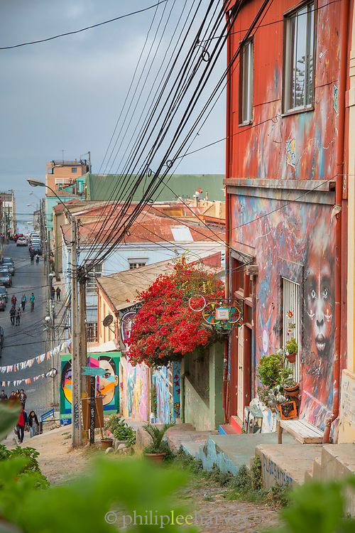 Murals on buildings in Valparaiso, Chile