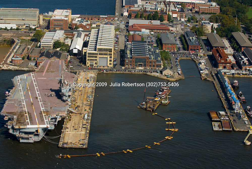 aerial view of Urban Outfitters Dredging on the Delaware river