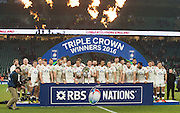 Twickenham. Great Britain.<br /> Engand pose for a victory picture after beating Wales at the  RBS Six Nations Rugby, England vs Wales at the RFU Twickenham Stadium. England.<br /> <br /> Saturday  12/03/2016 <br /> <br /> [Mandatory Credit; Peter Spurrier/Intersport-images]