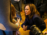 11 APRIL 2019 - DES MOINES, IOWA: US Senator KAMALA HARRIS, (D-CA) talks to a child at a house party meet and greet for her presidential campaign in Des Moines.  Sen Harris is one of the leading candidates to be Democratic nominee for the US Presidency. Iowa traditionally hosts the the first election event of the presidential election cycle. The Iowa Caucuses will be on Feb. 3, 2020.     PHOTO BY JACK KURTZ