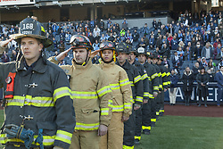 March 11, 2018 - New York, New York, United States - FDNY honor guards stand before regular MLS game between NYC FC and LA Galaxy at Yankee stadium NYC FC won 2 - 1  (Credit Image: © Lev Radin/Pacific Press via ZUMA Wire)