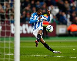 Terence Kongolo of Huddersfield Town shoots at goal - Mandatory by-line: Phil Chaplin/JMP - 16/03/2019 - FOOTBALL - London Stadium - London, England - West Ham United v Huddersfield Town - Premier League