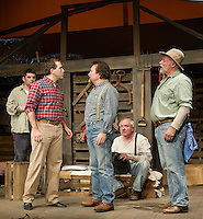 "Lennie Small (Michael G. Baker), Curley (Matt Finch), Whit (Jim Rogato), Candy (Ray Dudley) and The Boss (Dana Gardner) during dress rehearsal for ""Of Mice and Men"" at the Winnipesaukee Playhouse in Meredith.  (Karen Bobotas/for the Laconia Daily Sun)"