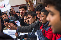 Activists participate in the Citizens March to Parliament to protest the Nepali government's lack of progress on earthquake reconstruction and its political dispute with the ethnic Madhesi people along the border with India. When a new constitution was adopted in September 2015, promising proportional representation for Nepal's many ethnic groups under a federal structure, the Madhesis believed themselves shortchanged. Agitation and violence in the border region prevented Indian trucks from entering Nepal, creating an extreme shortage of fuel, cooking gas, and essential supplies.