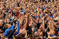 Portsmouth fans reach out to catch a throw shoe from one of the Portsmouth players - Mandatory by-line: Jason Brown/JMP - 06/05/2017 - FOOTBALL - Fratton Park - Portsmouth, England - Portsmouth v Cheltenham Town - Sky Bet League Two