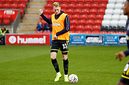 Wimbledon midfielder Mitch Pinnock (11) warming up  during the The FA Cup 3rd round match between Fleetwood Town and AFC Wimbledon at the Highbury Stadium, Fleetwood, England on 5 January 2019.