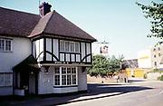 Woolpack Pub, St Neots, Cambridgeshire, England taken 1986 Tudor style public house built 1930s closed 2012