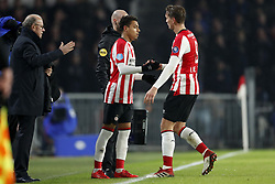 (L-R) team manager Mart van den Heuvel of PSV, Donyell Malen of PSV, Luuk de Jong of PSV during the Dutch Eredivisie match between PSV Eindhoven and PEC Zwolle at the Phillips stadium on February 03, 2018 in Eindhoven, The Netherlands
