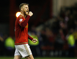 Matthew Mills of Nottingham Forest celebrates winning the match at the final whistle - Mandatory byline: Jack Phillips / JMP - 07966386802 - 6/11/2015 - FOOTBALL - The City Ground - Nottingham, Nottinghamshire - Nottingham Forest v Derby County - Sky Bet Championship