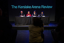 © Licensed to London News Pictures. 27/03/2018. Salford, UK. SIR RICHARD LEESE , Deputy Mayor and Mayor of Greater Manchester BEV HUGHES and ANDY BURNHAM and GMFRS's DAWN DOCX . The Kerslake Report in to the terrorist bombing of an Ariana Grande concert at the Manchester Arena on 22nd May 2017 , ordered by Greater Manchester Metro Mayor Andy Burnham , is published at a press conference at the University of Salford , at Media City . Amongst praise for many connected with the events, the report also highlights failings in communication at Greater Manchester Fire and Rescue on the night and disreputable behaviour by some sections of the media in the aftermath of the attack . Photo credit: Joel Goodman/LNP