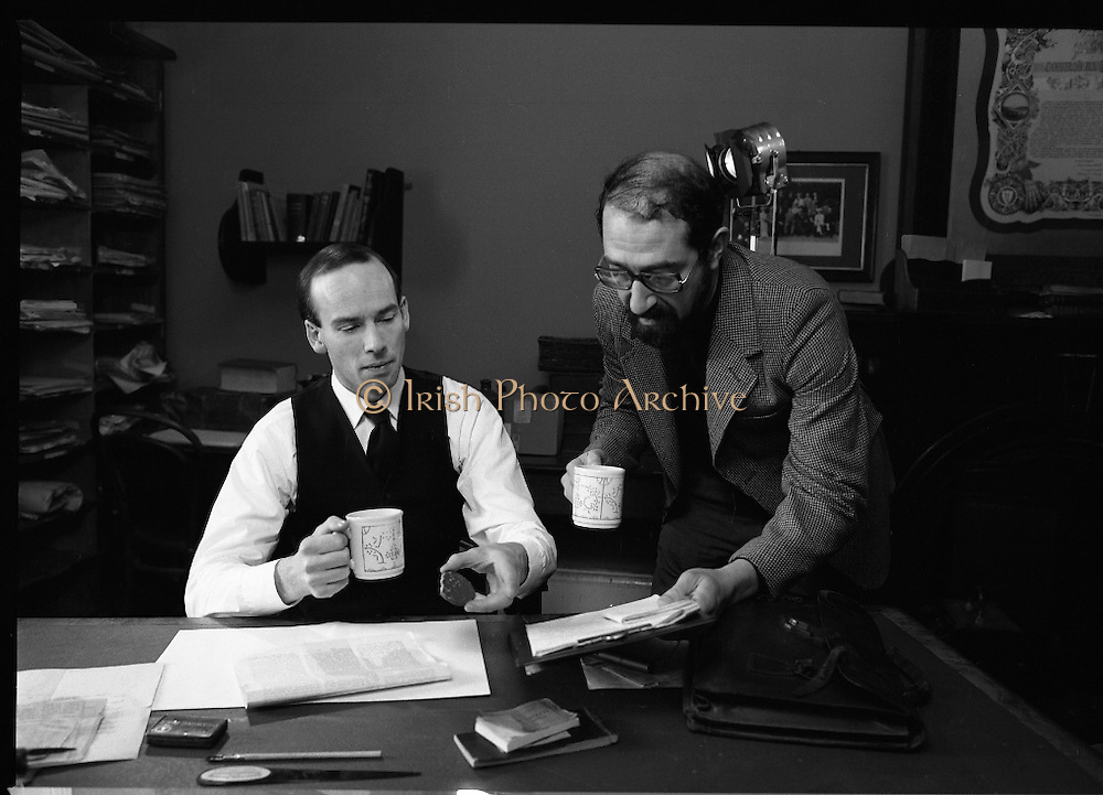 Patrick Pearse a film by Louis Marcus.    (N6)..1979..13.12.1979..12.13.1979..13th December 1979..A film on the Irish Patriot,Patrick was made by the Director, Louis Marcus.The film was to mark the centenary of Patrick Pearse's birth. The lead role was taken by renowned actor John Kavanagh.Others involved in the production were, Andy O'Mahoney, Niall Tobín,Denis Brennan and Derek Lord..Image shows Director louis Marcus discussing the next scene with actor, John Kavanagh.