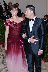 Scarlett Johansson and Colin Jost walking the red carpet at The Metropolitan Museum of Art Costume Institute Benefit celebrating the opening of Heavenly Bodies : Fashion and the Catholic Imagination held at The Metropolitan Museum of Art  in New York, NY, on May 7, 2018. (Photo by Anthony Behar/Sipa USA)
