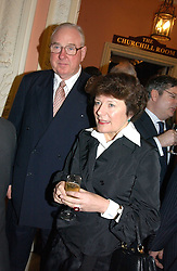 MR HENRY & the HON.TESSA KESWICK at a party to celebrate the publication of Andrew Robert's new book 'Waterloo: Napoleon's Last Gamble' and the launch of the paperback version of Leonie Fried's book 'Catherine de Medici' held at the English-Speaking Union, Dartmouth House, 37 Charles Street, London W1 on 8th February 2005.<br />