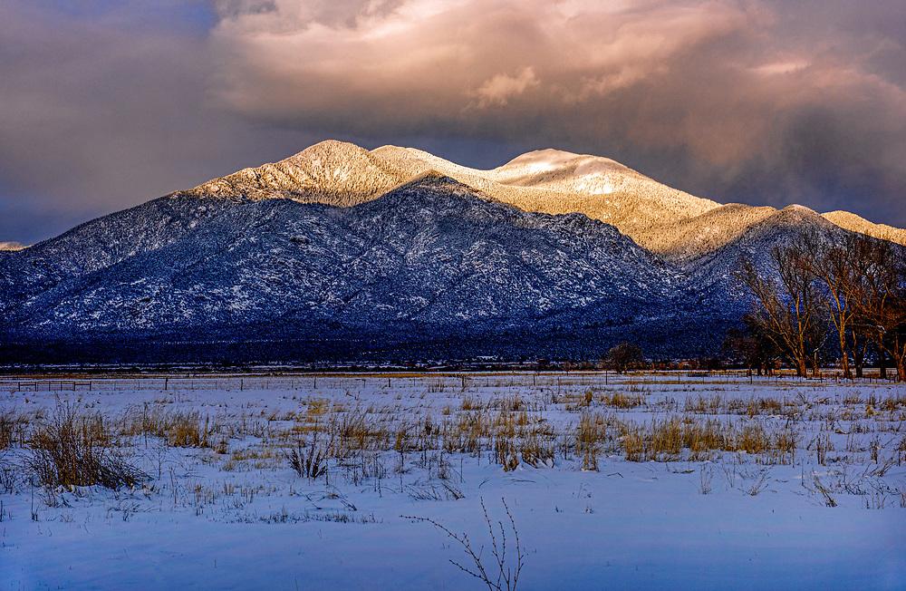 Last light, Taos Mountains, El Prado, New Mexico