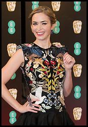 February 12, 2017 - London, London, United Kingdom -  12/02/2017. London, United Kingdom. Emily Blunt arriving at the British Academy Film Awards in London.  (Credit Image: © Stephen Lock/i-Images via ZUMA Press)
