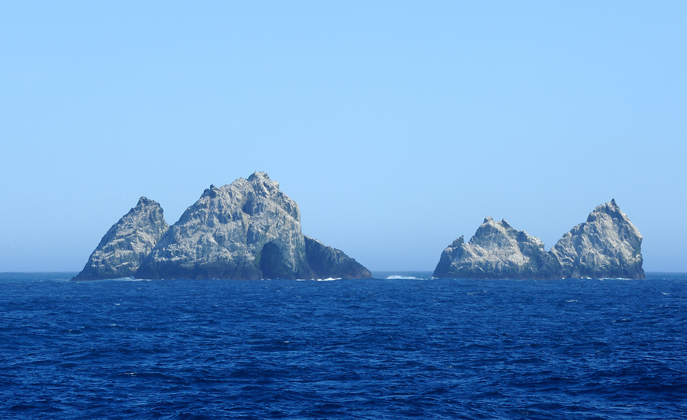 Shag Rocks. These rocky islands are the westernmost extremity of the South Georgia Archipelago. South Georgia 18Feb16